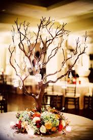 tree centerpieces beautiful tree centerpiece with hanging crystals by hydrangea