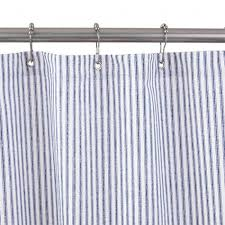 Shower Curtain Cotton Duck Shower Curtain Blue Tick Stripe Bathroom