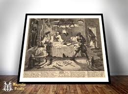 Vintage Reproduction Home Decor by Hudibras Beats Sidrophel Giclee Print Old Maps And Prints