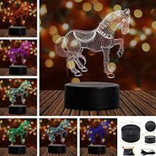 amazon com horse 3d touch table desk lamps tony 7 color changing