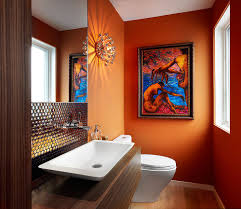 cheerful spunk enliven your powder room with a splash of orange