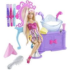 amazon barbie hairtastic color wash salon playset toys
