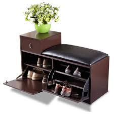 Bench Shoe Storage Brown Wood Shoe Bench Shoe Cabinet Rack With Ottoman Seat Shoe