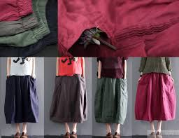green women linen skirts plus size linen clothing summer tops