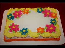 pretty flat flowers on a quarter sheet cake youtube cake