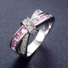 pink sapphire rings images Crossed pink sapphire ring women 39 s rings pandora 39 s locket jpg