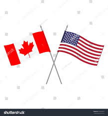 Flags And Flagpoles Vector Illustration Usa Canada Flags Two Stock Vektorgrafik
