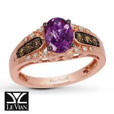 14k gold large diamond amethyst kay le vian amethyst ring 1 4 ct tw diamonds 14k strawberry gold