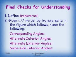 Same Side Interior Angles Definition Geometry Transversals U0026 Special Angles Ppt Video Online Download