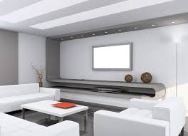 Tv Wall Mount With Shelf For Cable Box Flat Tv On The White Wall Combined With Curving Gray Wooden