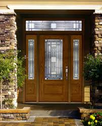 home design for front brown wooden double front doors with glass in a unique design of