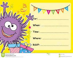 monster invitation monster birthday card stock vector image 59771738