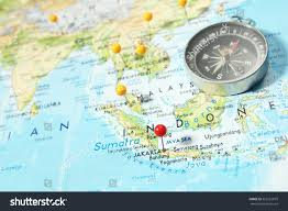Map Of Jakarta Compass Pins On Map Focus On Stock Foto 353216879 Shutterstock