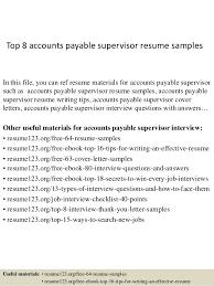 top 8 accounts payable supervisor resume samples 1 638 jpg cb u003d1428556618