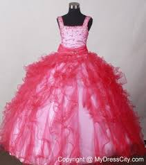coral red ruffled straps little pageant dresses beaded