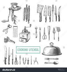 Kitchen Utensils Kitchen Utensils Set Vector Large Collection Stock Vector