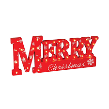 led lighted merry wooden tabletop sign