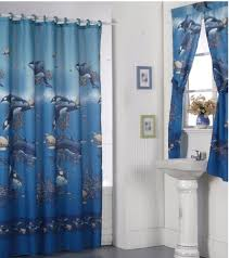 dolphin patterned blue bathroom window curtains with undermount