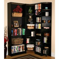 Bookcase Corner Corner High Black Wooden Bookcase With Many Shelves Placed On The