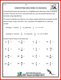 converting fractions to decimals worksheet a free converting