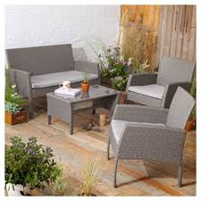 Tesco Bistro Chairs Buy Tesco San Marino 4 Piece Rattan Garden Lounge Set Grey From