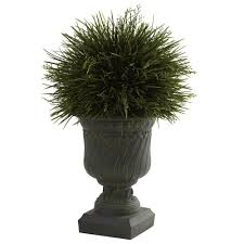 nearly natural 17 in h indoor outdoor potted grass with