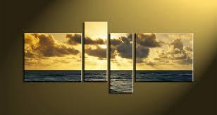 4 piece yellow canvas ocean wall art
