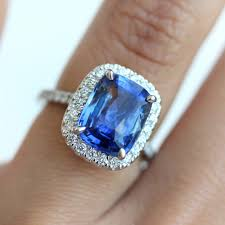 saphire rings cushion halo blue sapphire engagement ring wholesale price
