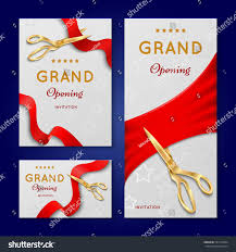 New Office Opening Invitation Card Ribbon Cutting Scissors Grand Opening Ceremony Stock Vector