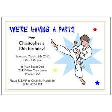 karate or martial arts boy birthday party invitation kick design