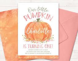 photo pumpkin first birthday invitation little pumpkin