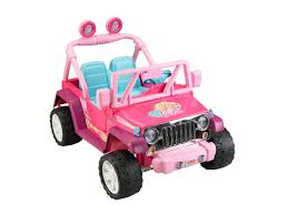 pink kid car power wheels barbie jammin jeep wrangler dark pink find the