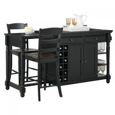 glamorous monarch kitchen island with stools and wine rack under