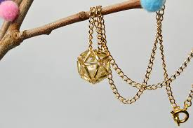 beaded ball necklace images How to make a golden chain beaded ball pendant necklace jpg