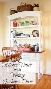 kitchen hutch with vintage farmhouse decor sweet pea
