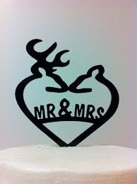 buck and doe wedding cake topper acrylic rustic country heart mr mrs doe and buck deer wedding