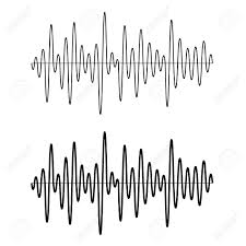 vector black seamless sinusoidal sound wave lines royalty free
