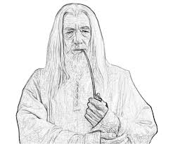 lord rings gandalf profil coloring pages middle earth