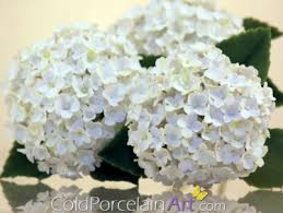 white hydrangeas centerpiece coldporcelainart made to order