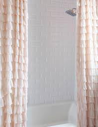 Ruffled Shower Curtain Drop In Bathtub With Two Pink Ruffled Shower Curtains