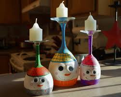our wine glass candle holder snowmen christmas pinterest