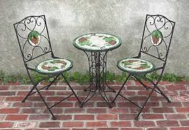 Mosaic Bistro Table Stunning Wrought Iron Bistro Table And Chairs Mosaic Tile Wrought