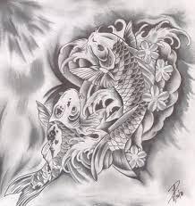 koi carp tattoo images drawn koi fish swimming pencil and in color drawn koi fish swimming