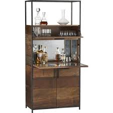 Reclaimed Wood Bar Cabinet Antique Mirror Detailed Wood Bar Cabinet