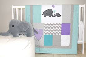 Teal And Purple Crib Bedding Elephant Baby Quilt Teal Gray Purple Crib Bedding Gray Chevron