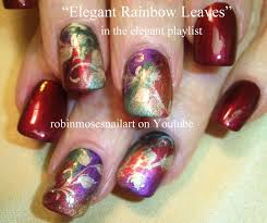 red and gold autumn leaves nail art elegant nails design