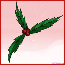 how to draw holly step by step christmas stuff seasonal free