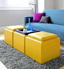 ottoman round yellow leather tufted ottoman french living room