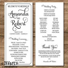 wedding ceremony program paper wedding program ceremony program printable files