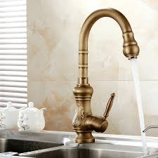 Gooseneck Kitchen Faucet With Spray Antique Brass Finish Kitchen Faucets Faucet With Sprayer Gooseneck